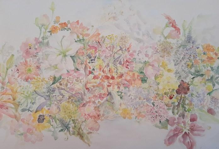 Summer flowers, akvarel, 100 cm x 70 cm, 2020.