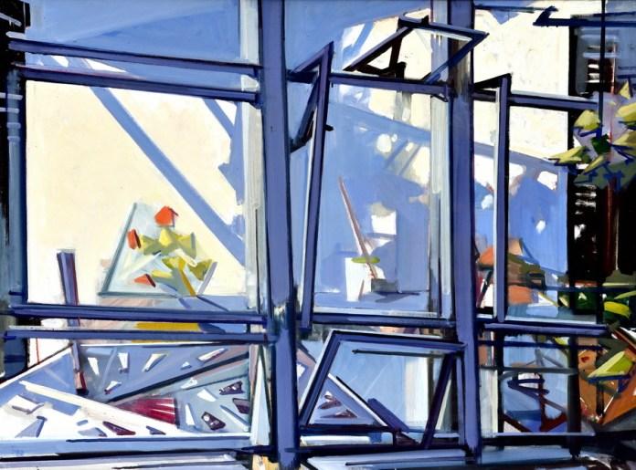 Pogled kroz prozor - ulje/lesonit, 66x90cm, 2000.