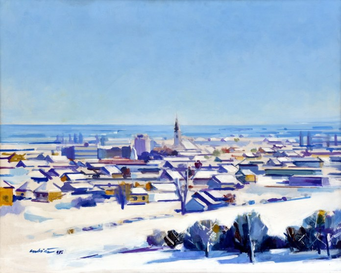 Nova Gradiška zimi - akrilik/drvo, 83x103cm, 2005.