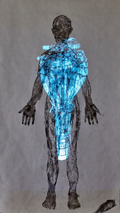 Maja Šofranac - Single woman, monoprint na platnu i video projekcija, 150x220cm, 2020.