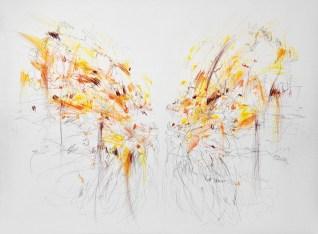 Teja Tegelj - Almost love, grafitna olovka i olovke u boji, 150x200cm, 2019.