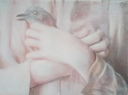 Slijepa ptica - kombinirana tehnika na platnu, 18x24cm, 2019.