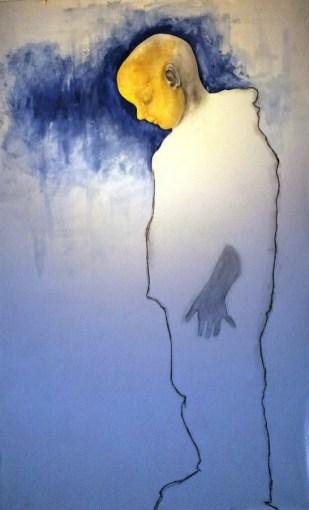 Zlatni dječak - kombinirana tehnika na platnu, 158x100cm, 2015.