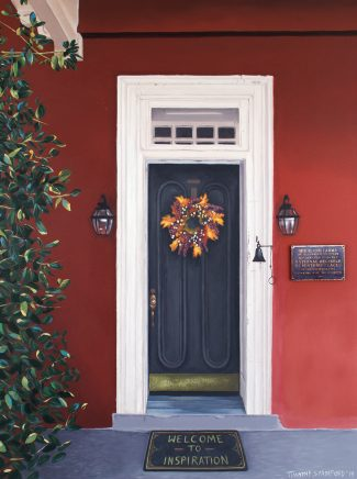 Acrylic painting of a black front door on a red house (Highland Farm, Oscar Hammerstein's former home in Doylestown, PA).