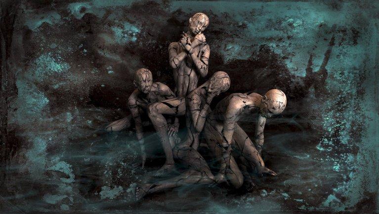 A painting depicting meta human fantasy