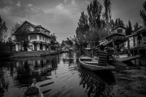 Boats on a lake in Kashmir