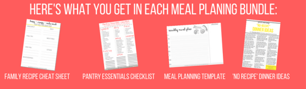 Free! Download my super-helpful, crazy-handy meal planning bundle. Join 500+ others who've joined and gained access to my helpful guides! This handy bundle is exactly what you need to jump-start your meal planning process. It couldn't be easier!