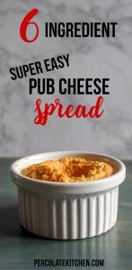 Love how easy this pub cheese spread is! She says it's 6 ingredients but there's really a 7th if you want to add it. Saving this one for an easy party appetizer.