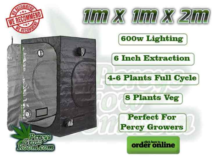 1m x 1m x 2m grow tent, 600w lighting, 6 inch extraction, 4-6 plants full cycle, 8 Plants veg, Perfect for percy growers,