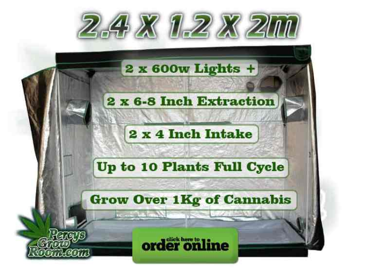 2.4 x 1.2 x 2m grow tent, 2 x 600w lights +, 2 x 6-8 inch extraction, 2 x 4 inch intake, up to 10 plants full cycle, grow over 1kg of cannabis
