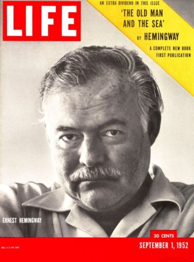 Cover of LIFE magazine dated 09-01-1952 w. picture of author Ernest Hemingway taken by Alfred Eisenstaedt