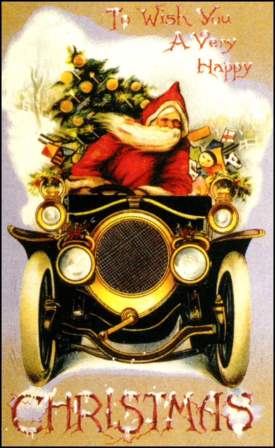 Papai Noel Viaja De Carro Cartes Postais De Natal