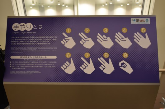 A sign explains the hand signals of the auctioneers and bidders