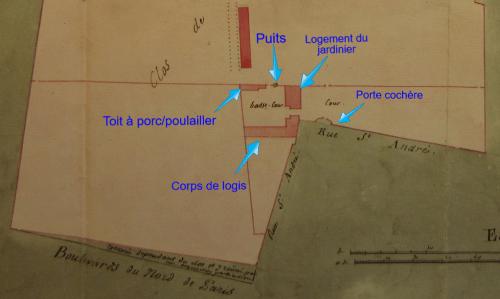 Emplacement des divers bâtiments en 1803