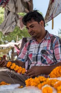 Marigold seller, Ramghat