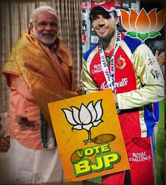 BREAKING NEWS: #Modi meets AB de Villiers post yesterday's match.Asks support for #BJP #RCBvsSRH #NaMo #FakeYouModi