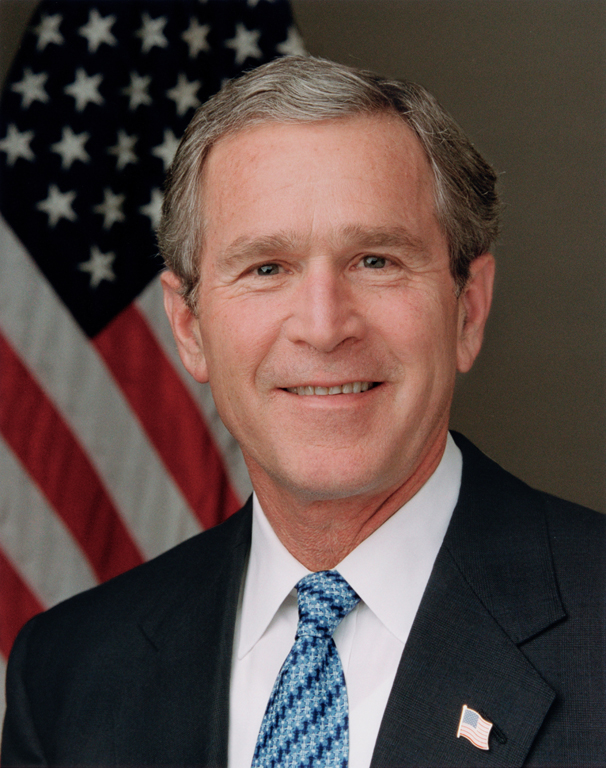President George W. Bush poses for his official portrait in the Roosevelt Room of the White House Wednesday, Jan. 14, 2004. Photo by Eric Draper, Courtesy of the George W. Bush Presidential Library