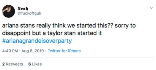 Did a Taylor Swift fan start #ArianaGrandeIsOverParty??