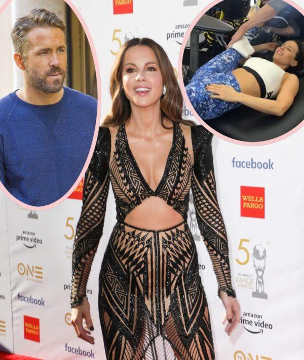 Kate Beckinsale Is SCARY Flexible! And Thinks She Looks Like Ryan Reynolds?! - Perez Hilton