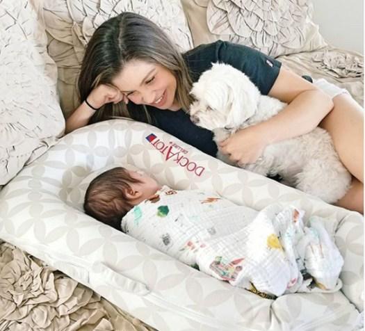 Danielle Fishel and her baby son Adler.