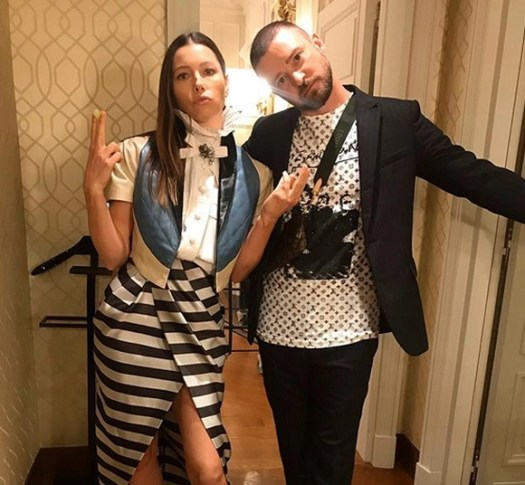 Justin Timberlake and Jessica Biel being adorable together in early October Instagram