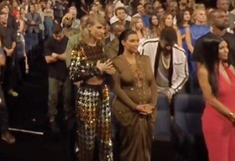 Taylor Swift and Kim Kardashian at the 2015 VMAs