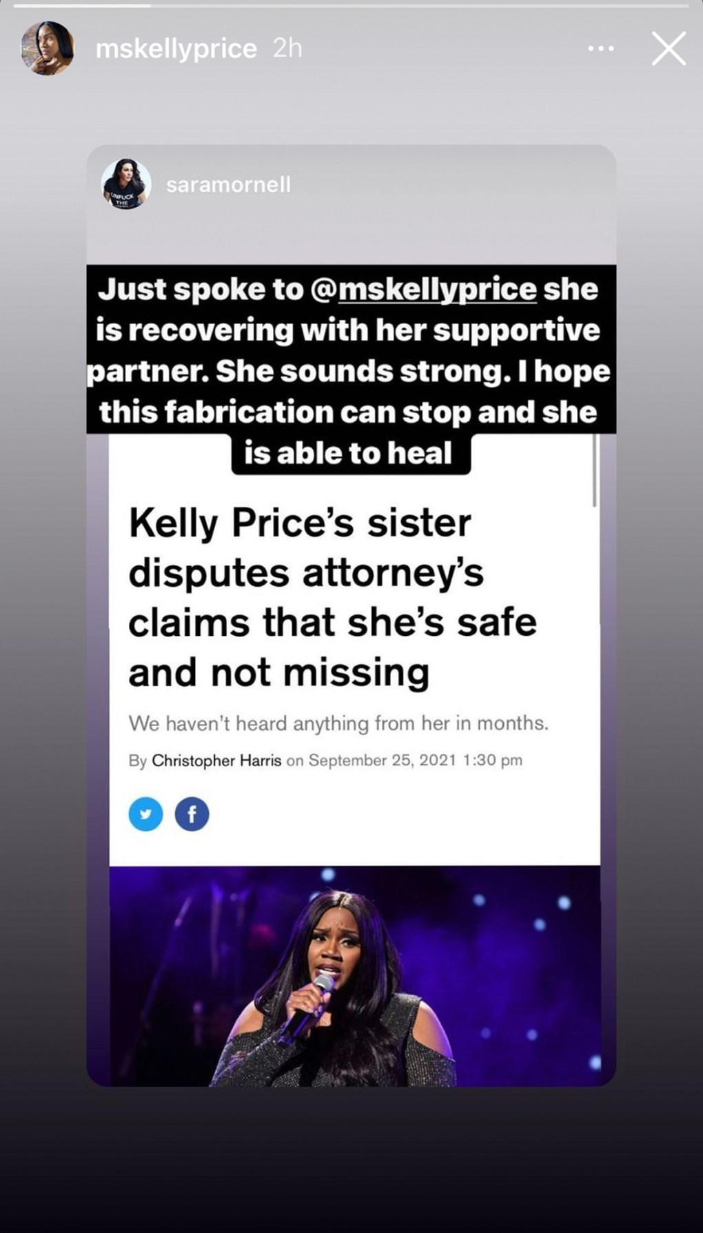 Kelly Price Seemingly Confirms She's Not Missing On Instagram