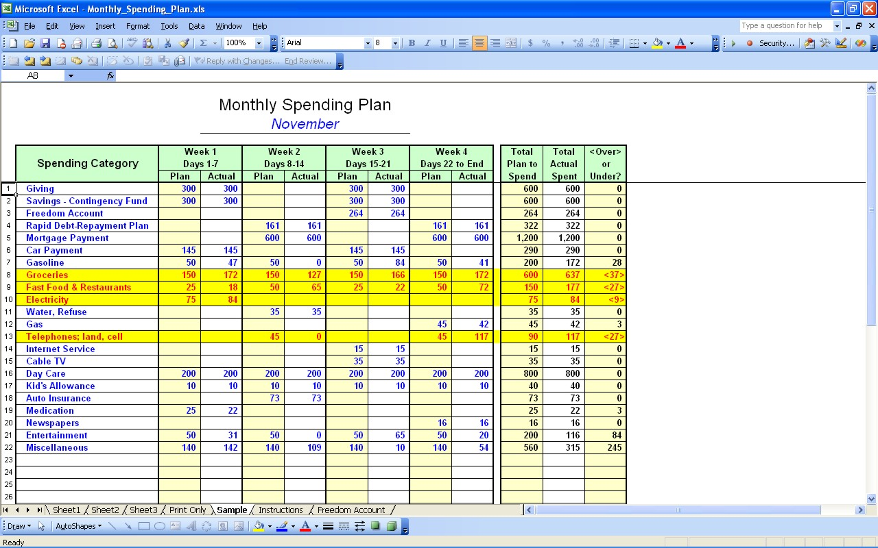 How To Create A Budget Spreadsheet Using Excel