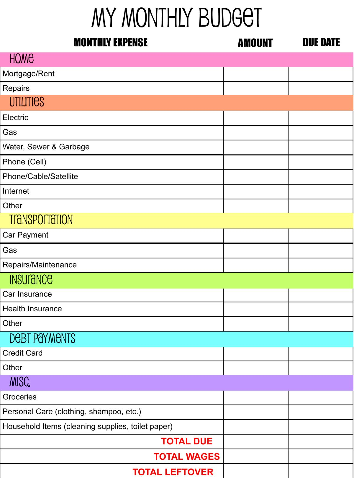 50 30 20 Budget Templates Spreadsheets