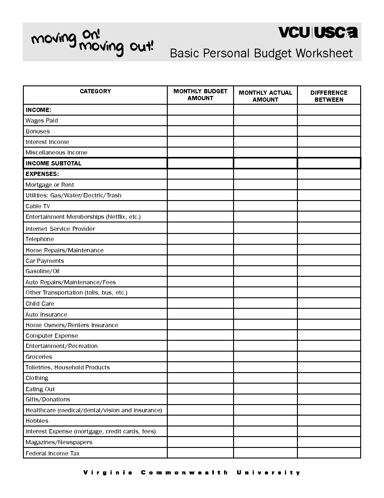 Printable Weekly Budget Planner Spreadsheets