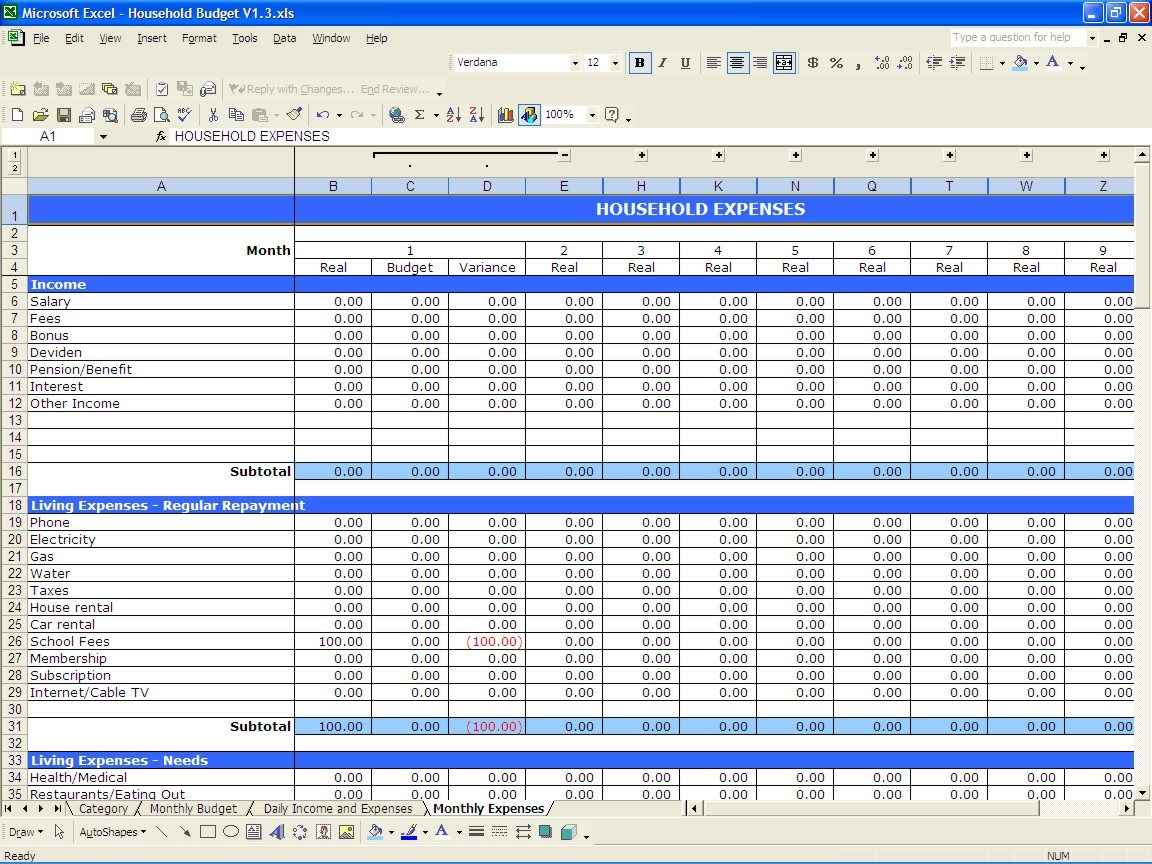 Household Income And Expenses Spreadsheet Spreadsheets