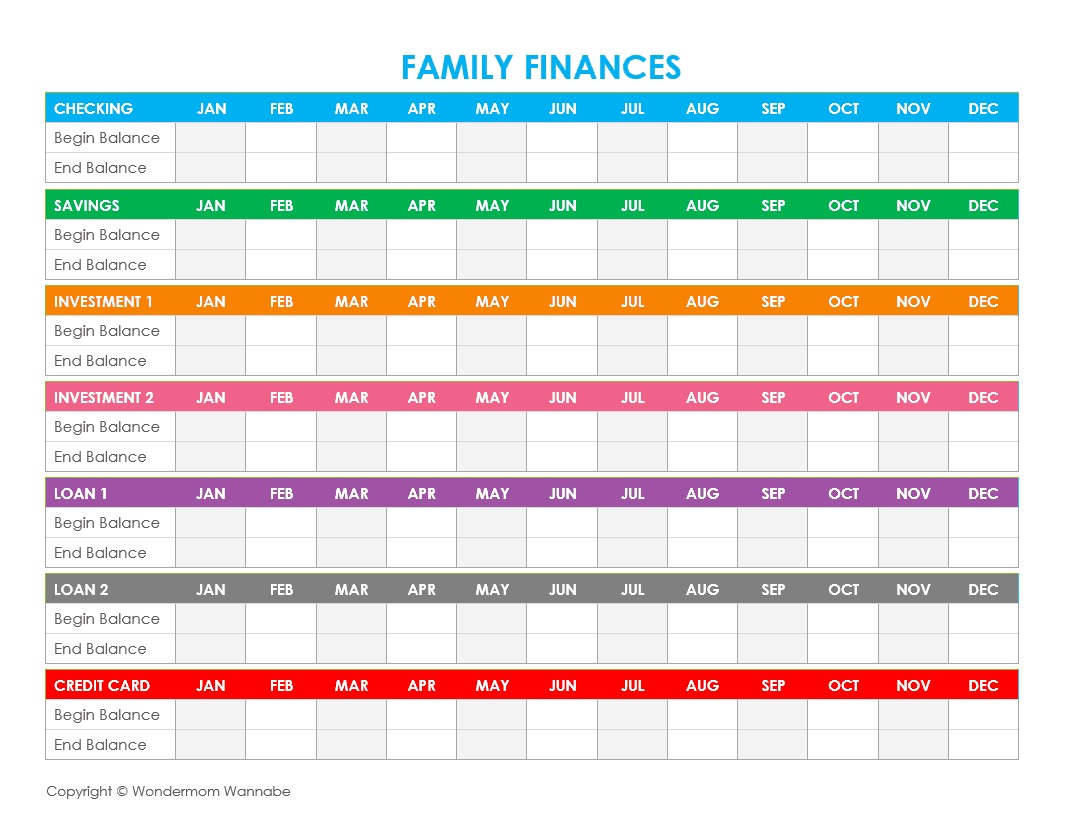 Family Expenses Spreadsheet