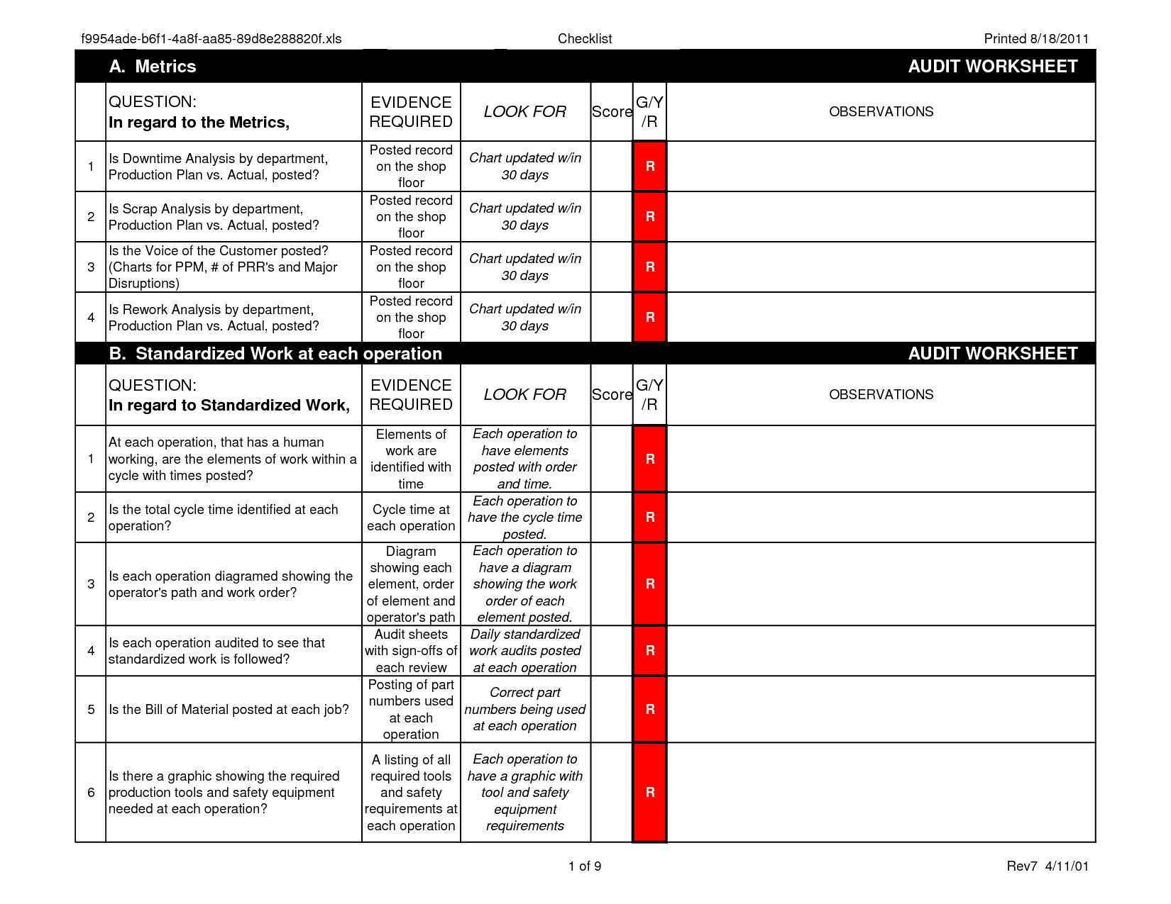Machine Downtime Report Format