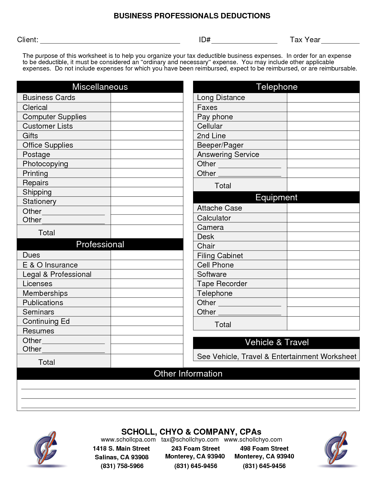 Small Retail Income And Expense Worksheet