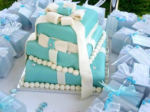 Tiffany Wedding Cake & Blue Gift Box Cake Designs