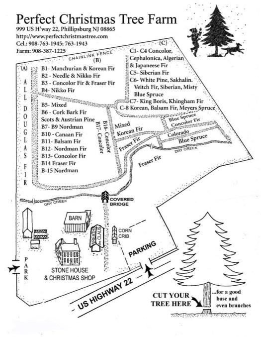 NJ Christmas Tree Farm Map