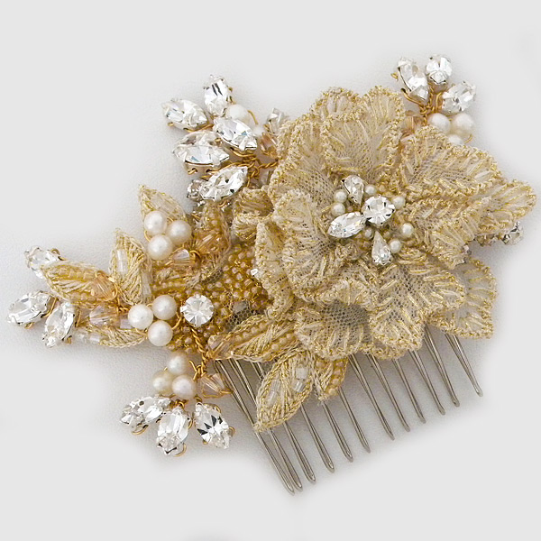 Laura Jayne Bridal Accessories Celeste Gold Floral