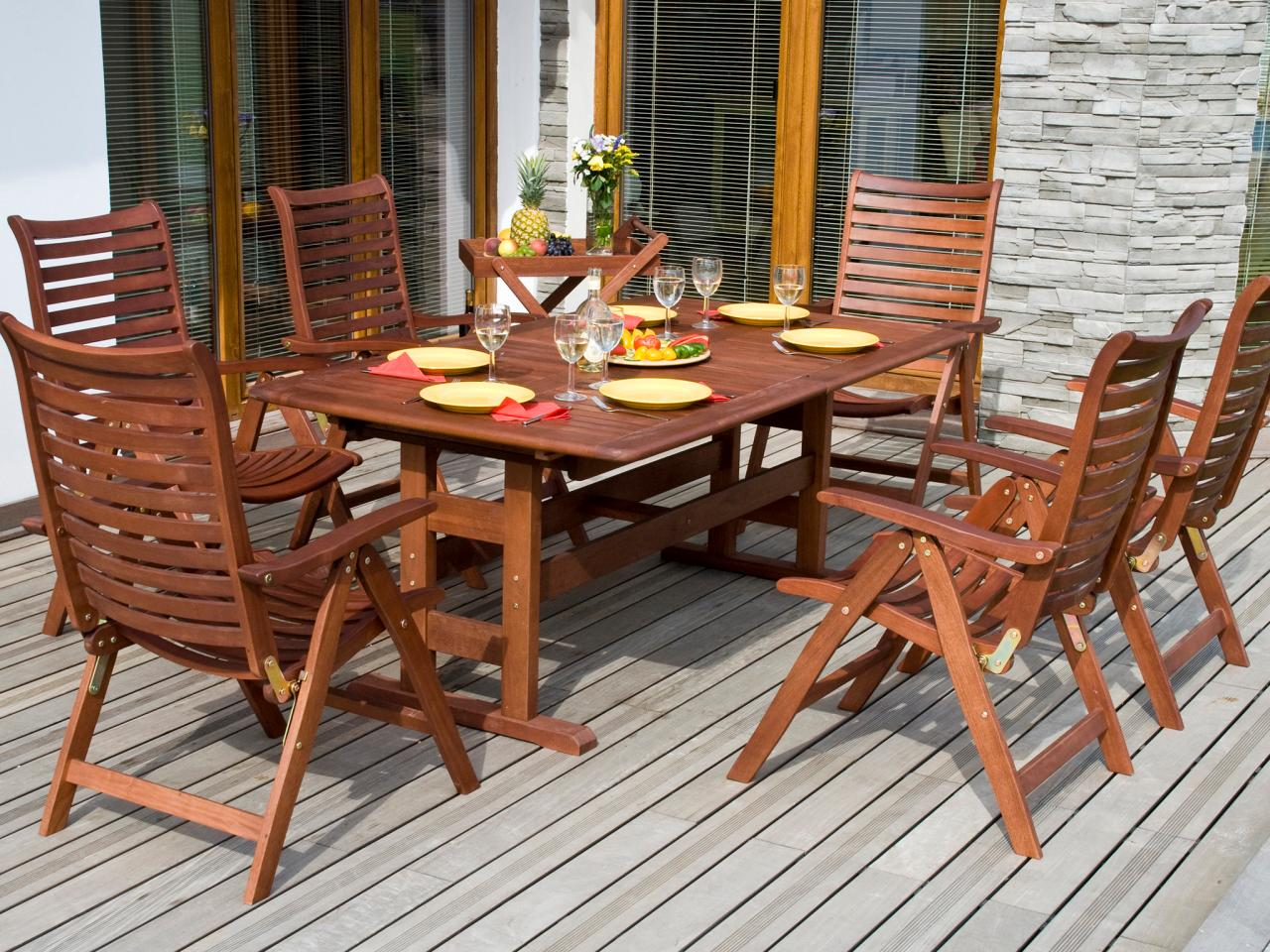 a wooden table for outdoor use