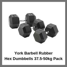 York Barbell Rubber Hex Dumbbells 37.5kg-50kg Pack
