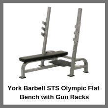 York Barbell STS Olympic Flat Bench with Gun Racks