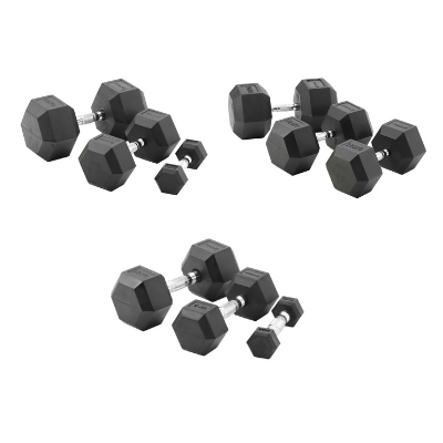 York Barbell Commercial Rubber Hex Dumbbells