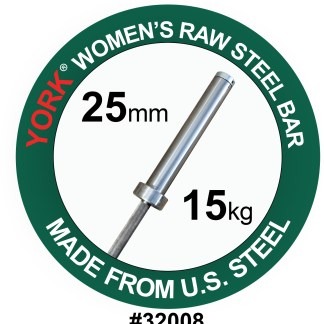 York Barbell Raw Steel Oly Bar – Women's 25mm Clearance