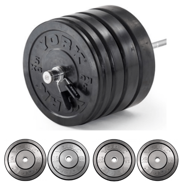 York Barbell Olympic Solid Rubber Bumper Plates 500Kg Set