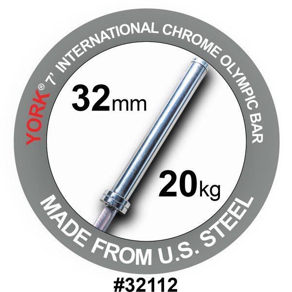 York Barbell 7' International Chrome Olympic Bar 32mm