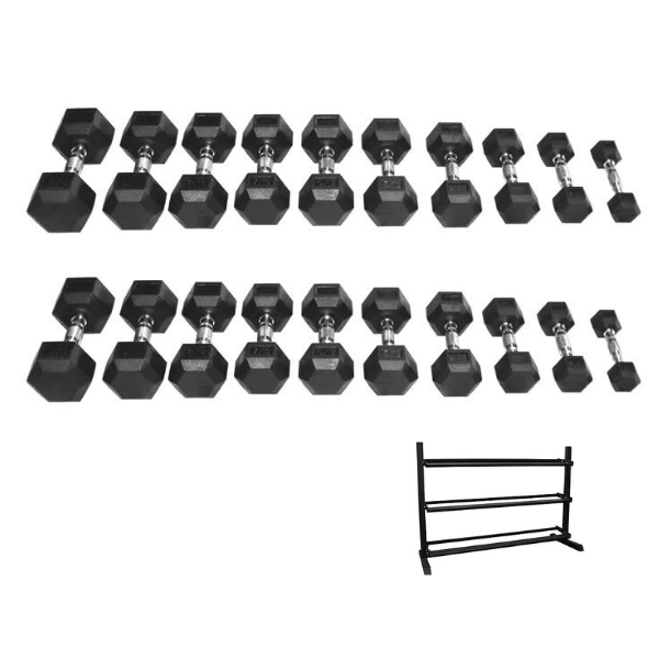 PGS Rubber Hex Dumbbell Set and Rack 2.5-30kg