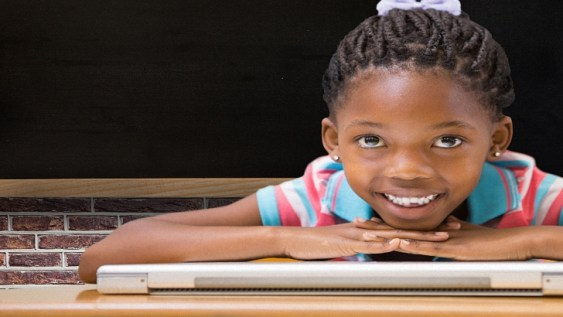 cute little black girl beautiful with a simple hairdo