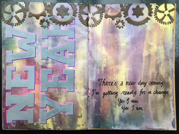 Stick 2: Use gears - stencil from Tando Creative, paint from DecoArt. Stick 3: Add verse from a song - New Beginning by Stephen Gately