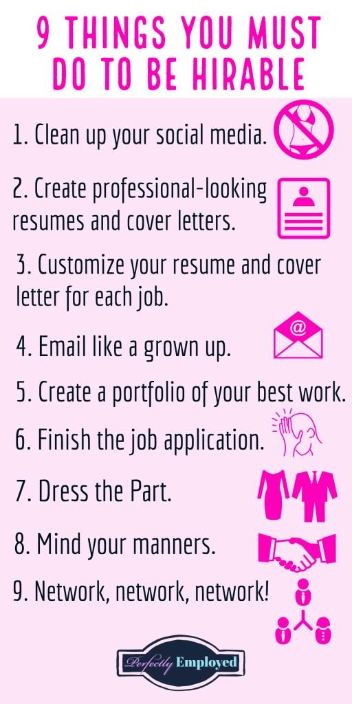 9 Things You Must do to be Hirable #career #getajob #findajob #behirable