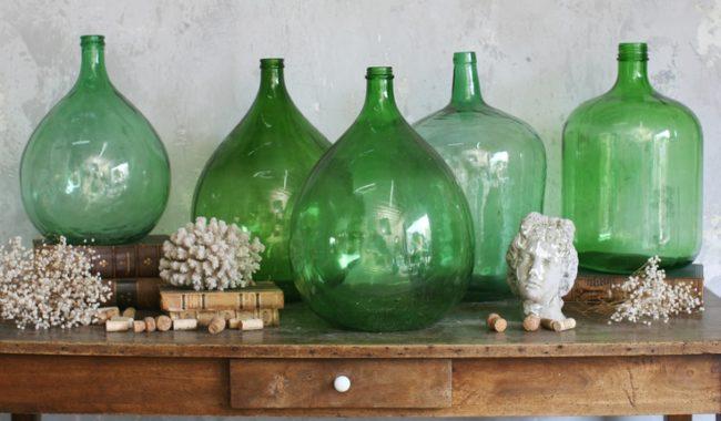 demijohns, decorating, vintage decor, glass bottles