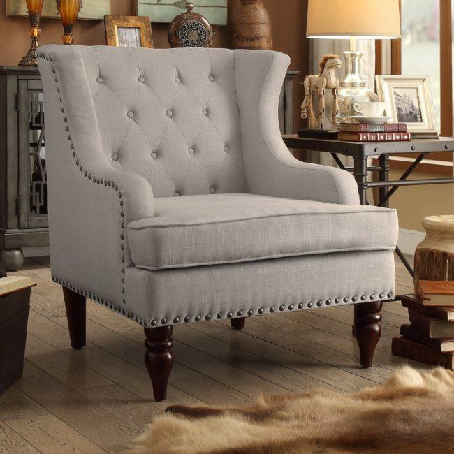 Bedroom Chair, Gray Linen Chair, Wayfair Chair, Master Bedroom, Casual Chair